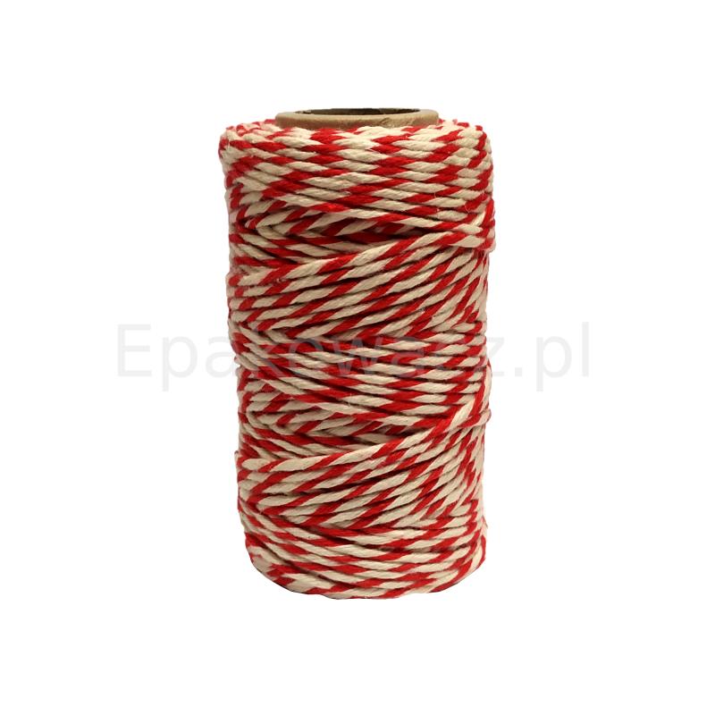 Sznurek bawełniany biało-czerwony 100g (50mb)