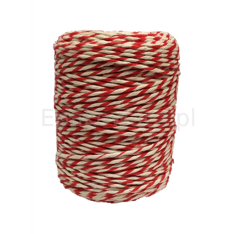 Sznurek bawełniany biało-czerwony 250g (135mb)