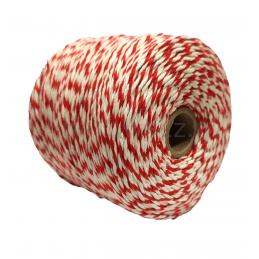 Sznurek bawełniany biało-czerwony 500g (300mb)