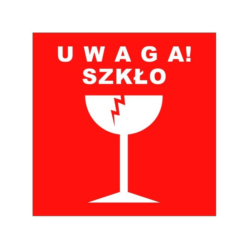 Etykiety samoprzylepne UWAGA SZKŁO - 1000 szt.